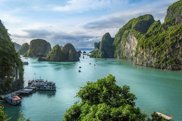 halong bay view from limestone mountain