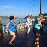 practice tai chi lesson at Halong bay