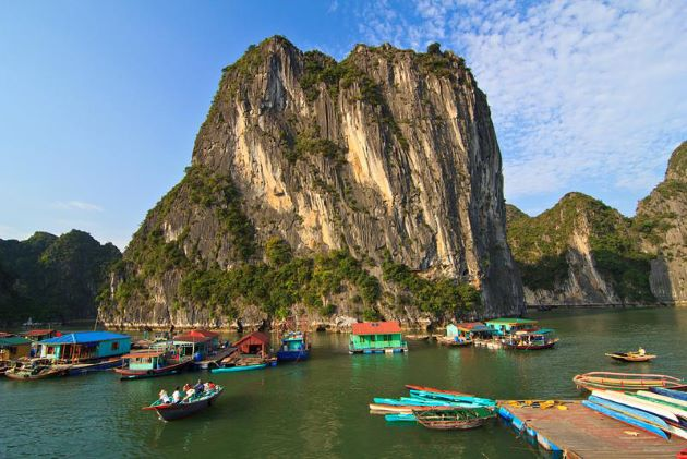 the rustic floating village at halong bay