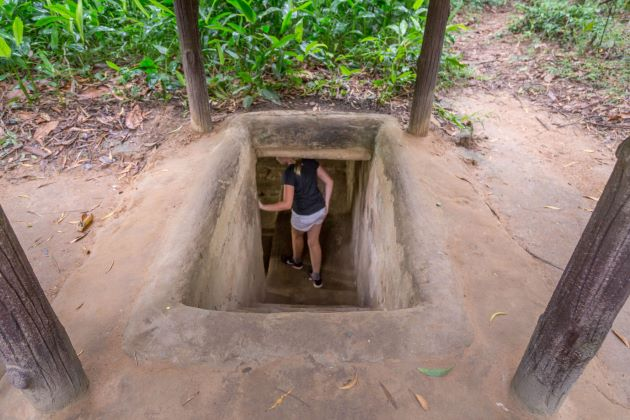 explore the underground system in cu chi tunnels