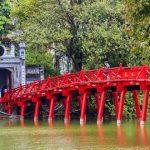 the huc bridge and ngoc son temple