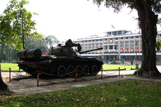 the tank preserved at the independence palace
