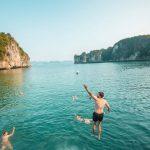 swimming in halong magic bay