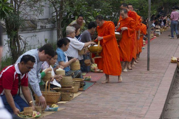 witness morning alms giving in luang prabang